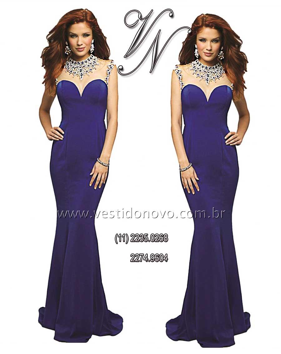 7949bbf829834 vestido azul royal brilho e pedraria CASA DO VESTIDO NOVO (11) 2274-9604