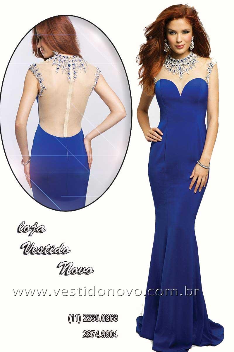 Vestido de festa azul royal para alugar