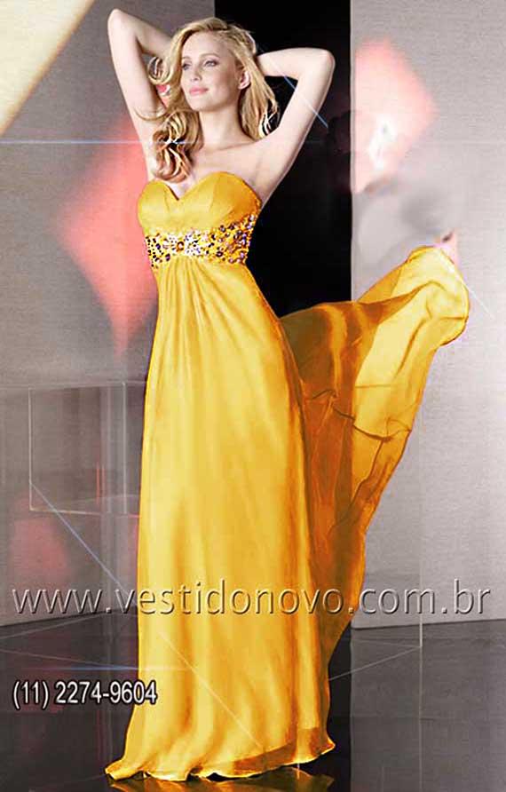 Vestido longo de seda amarelo