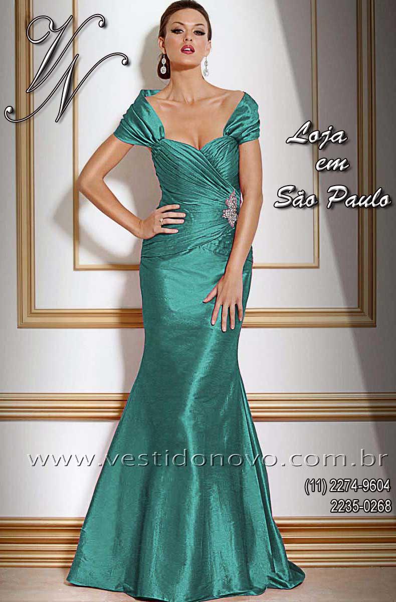 f3d2e57d26 vestido seda pura bodas de prata tamanho grande plus size azul esverdeado  CASA DO VESTIDO NOVO