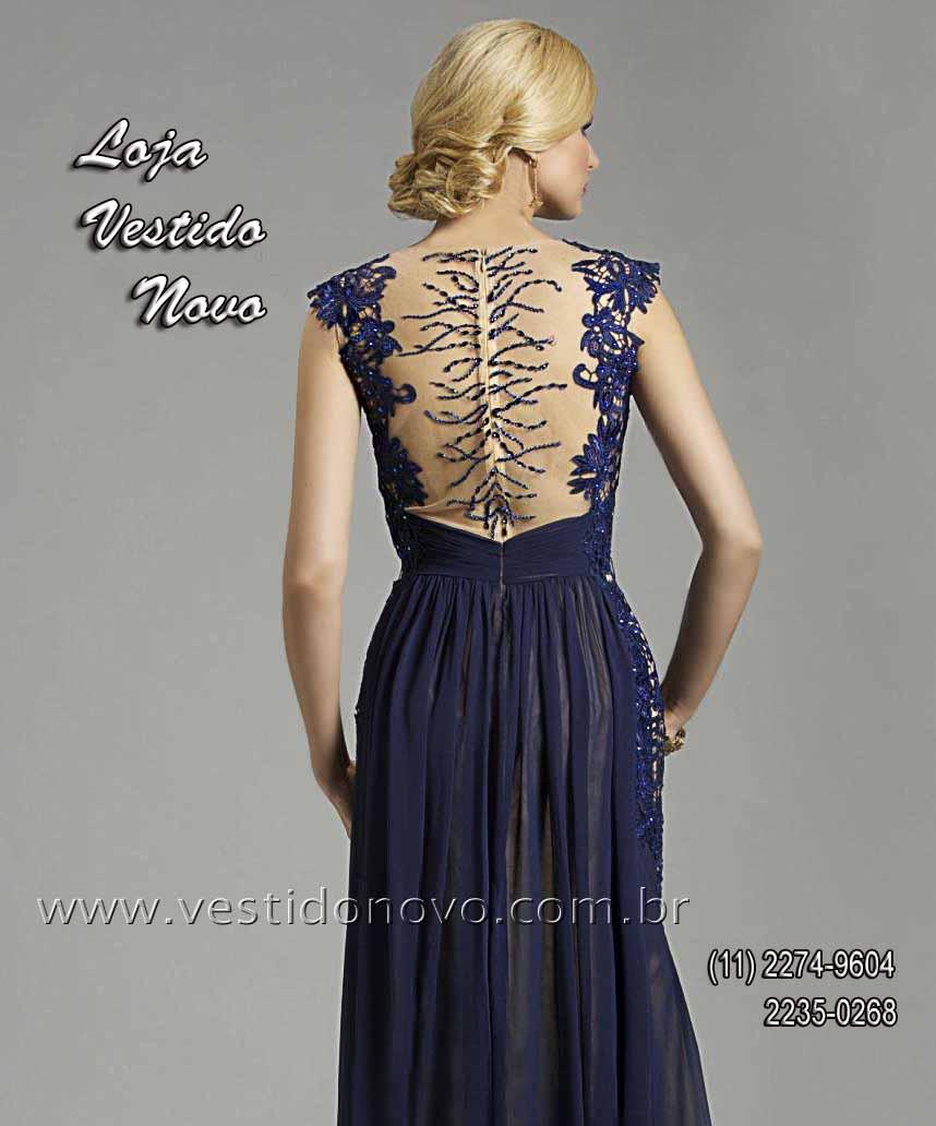 3f4096ddd vestido plus size de formatura azul marinho com transparencia e decote CASA  DO VESTIDO aclimação,