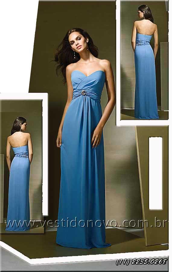 7de204cb3 vestido convidada de festa longo tomara que caia cor azul claro loja em São  Paulo sp