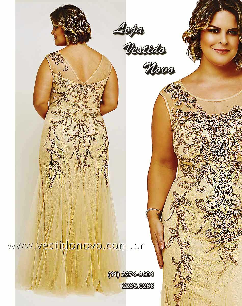37e5d8dac Vestido Plus size mãe do noivo nude com dourado, renda transparência  segunda pele - aclimação